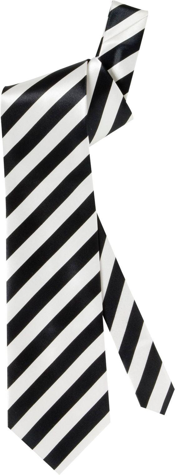 Zwart wit gestreepte satijnen stropdas