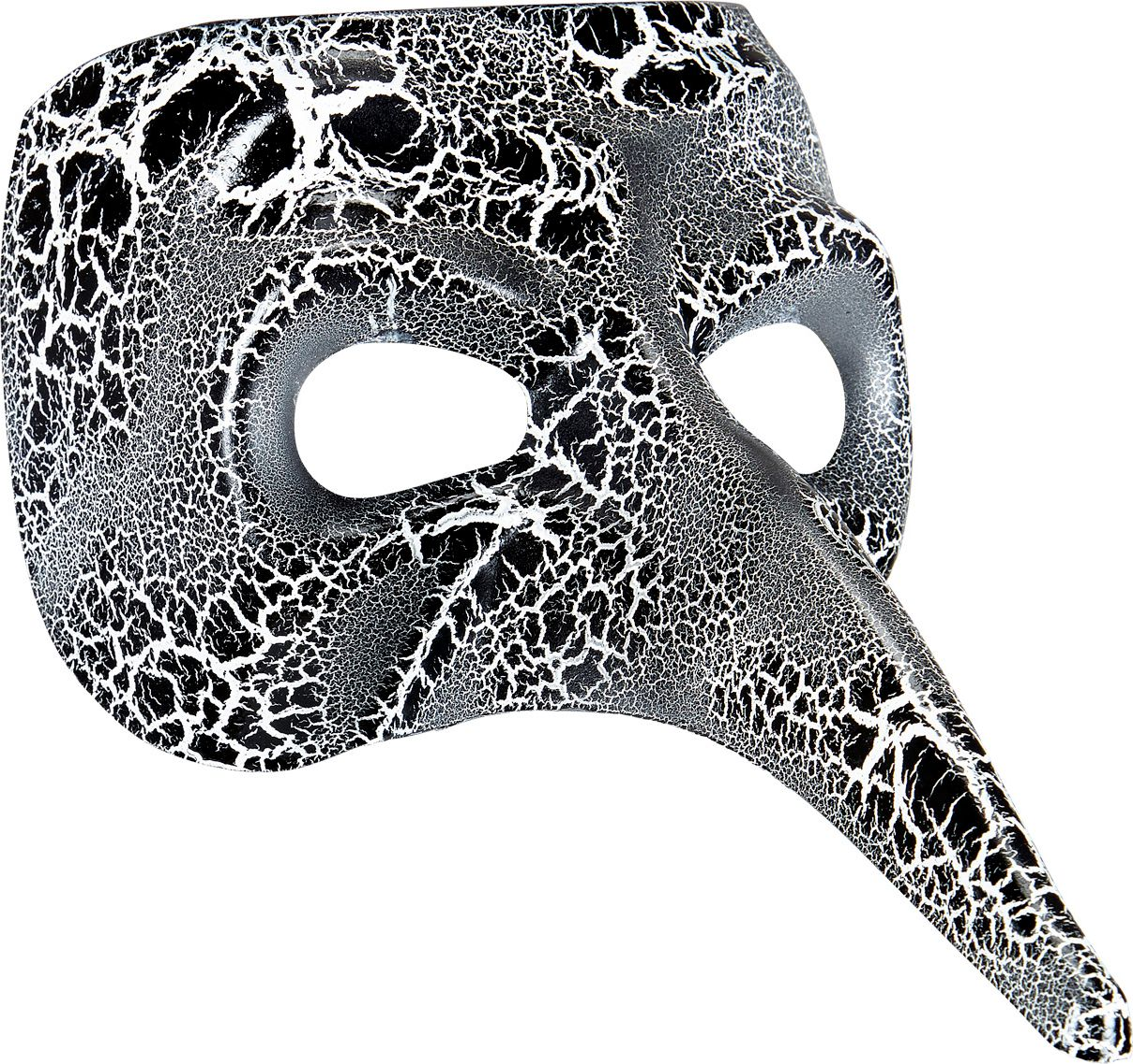 Zwart-wit gevlekt venetiaans masker met lange neus