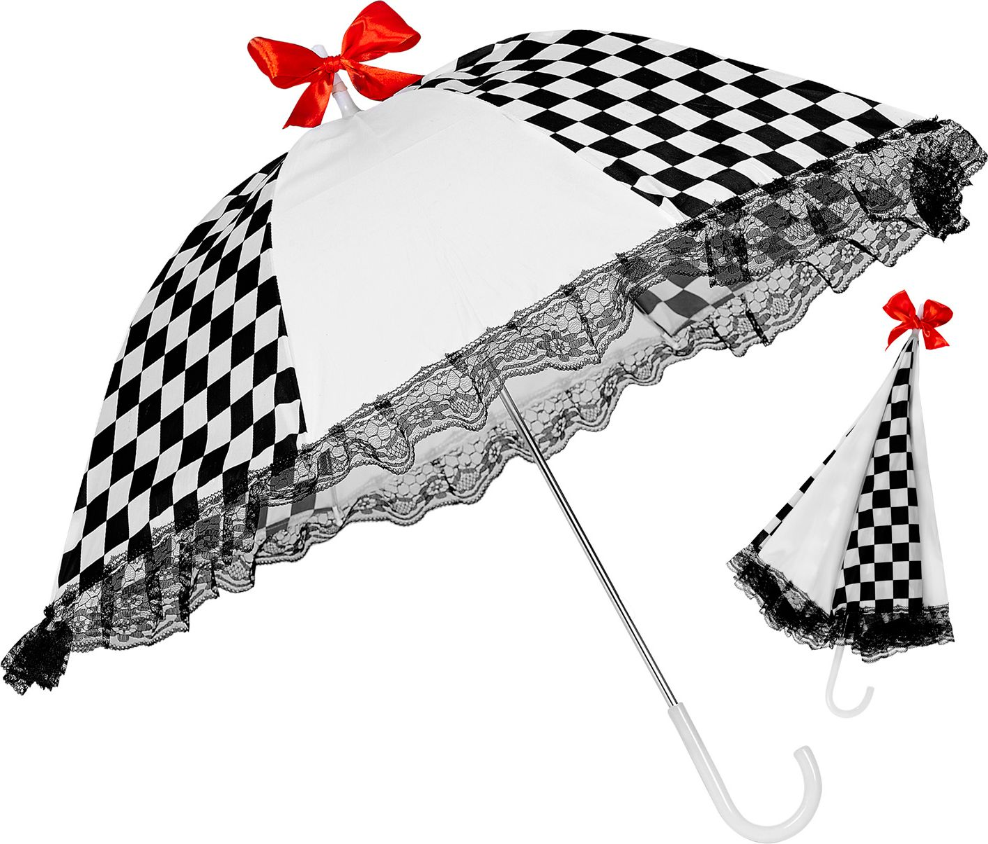 Zwart witte circus paraplu