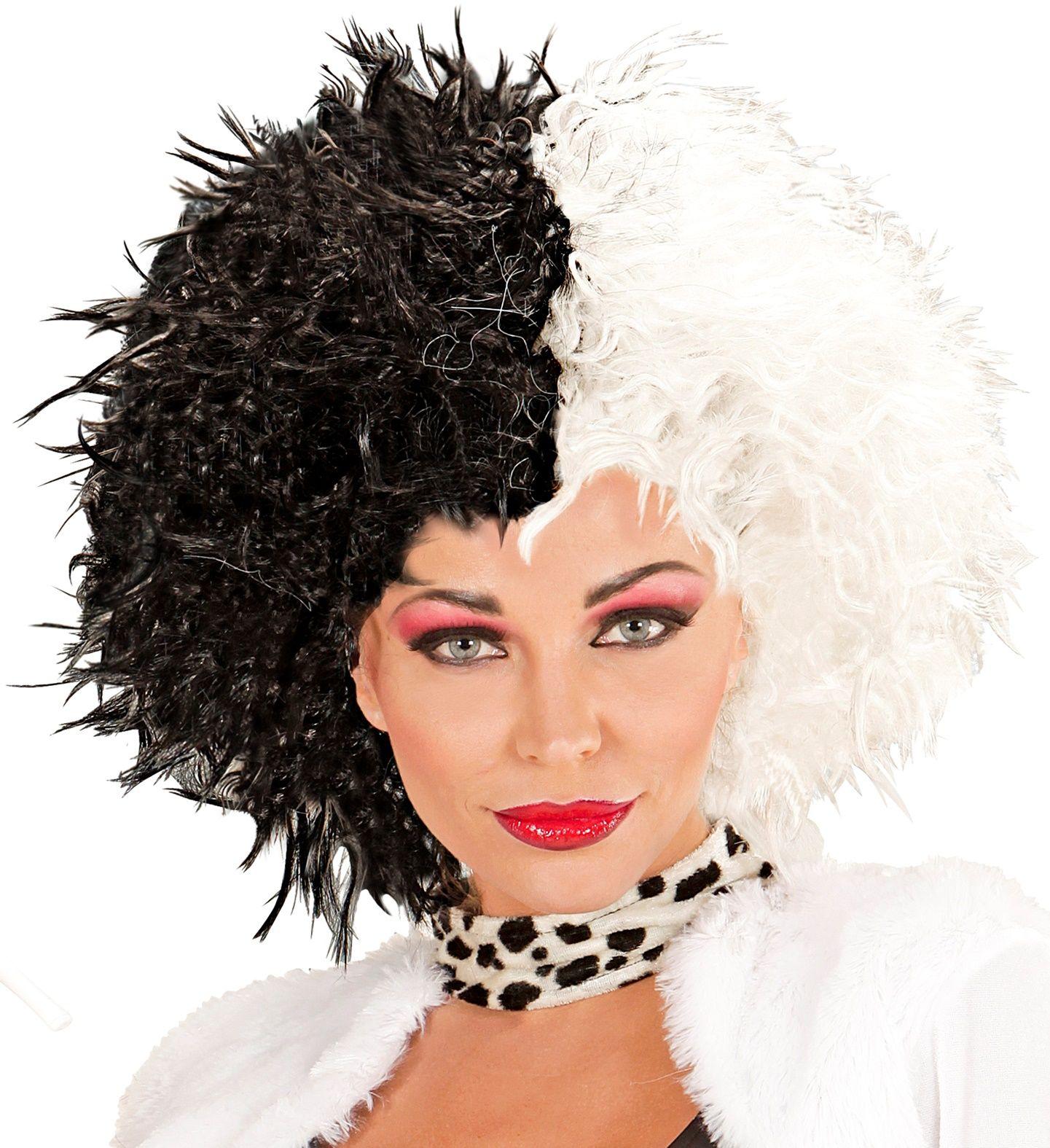 Zwart witte Cruella de Vil pruik