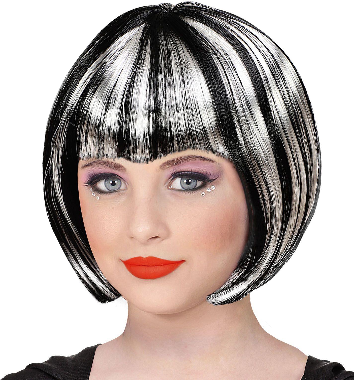 Zwart witte halloween pruik meisjes