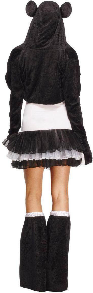 Zwart witte harten panda outfit