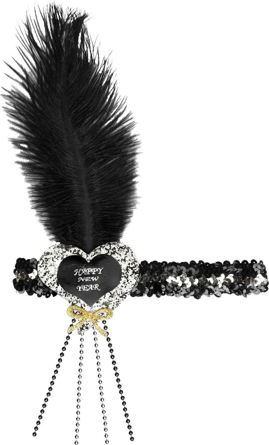 Zwart-zilveren pailletten Happy New Year hart hoofdband