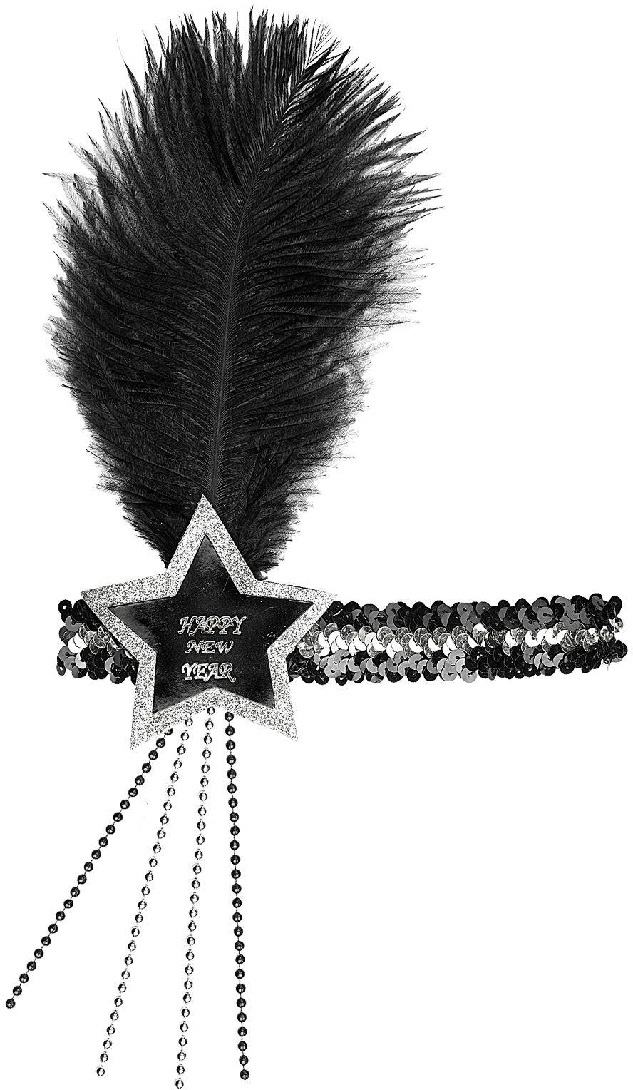Zwart-zilveren pailletten Happy New Year ster hoofdband
