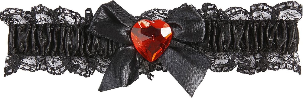 Zwarte 20s kousenband met rood hartje