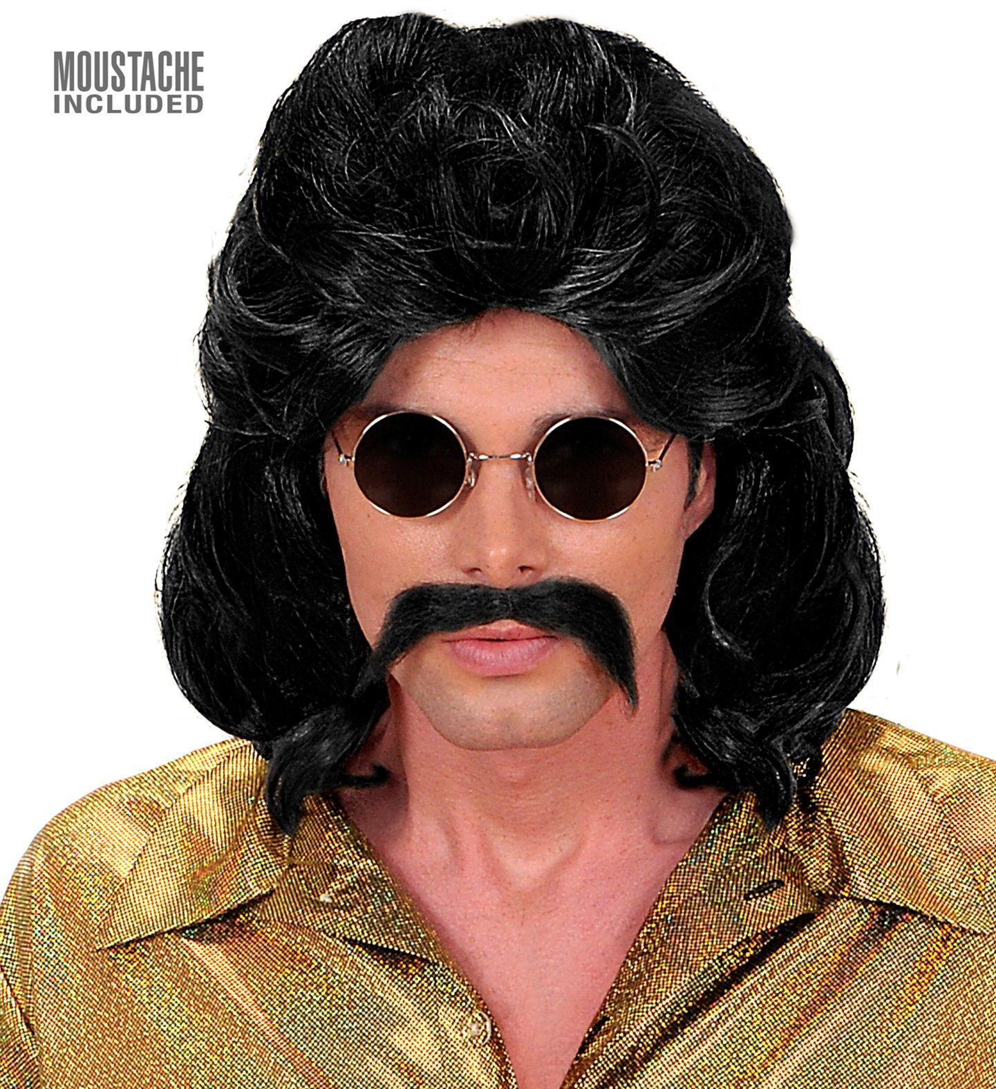 Zwarte 70s pruik met snor