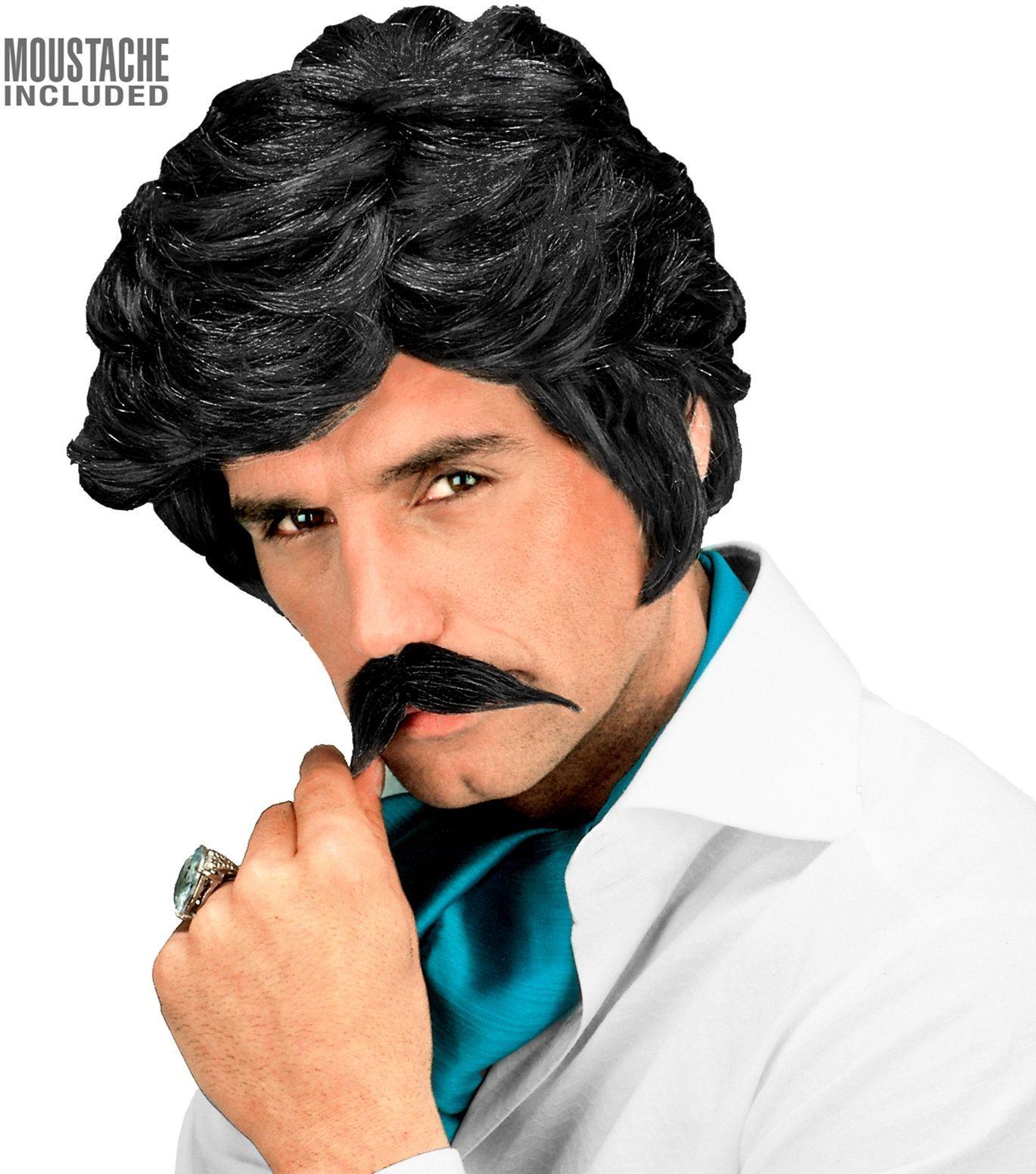 Zwarte 80s playboy pruik met snor