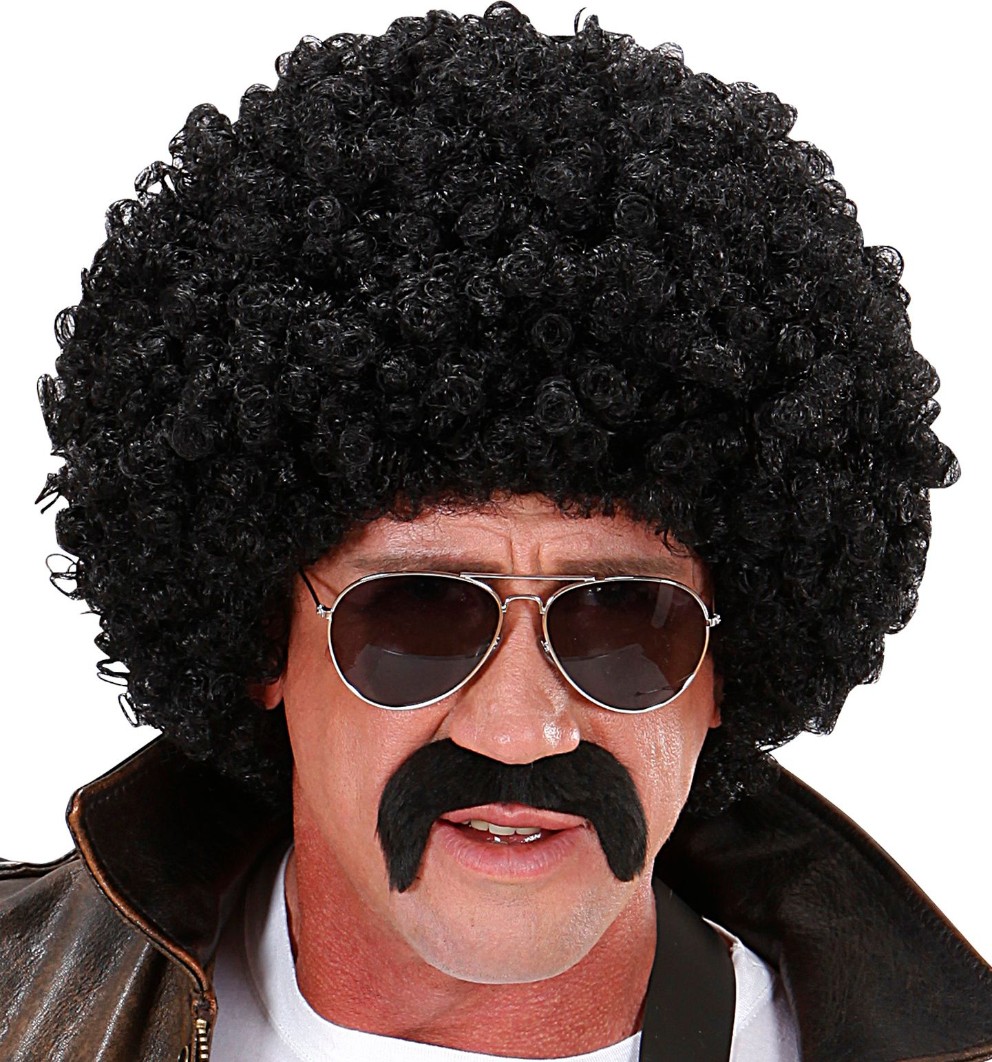 Zwarte afro pruik met snor en bril