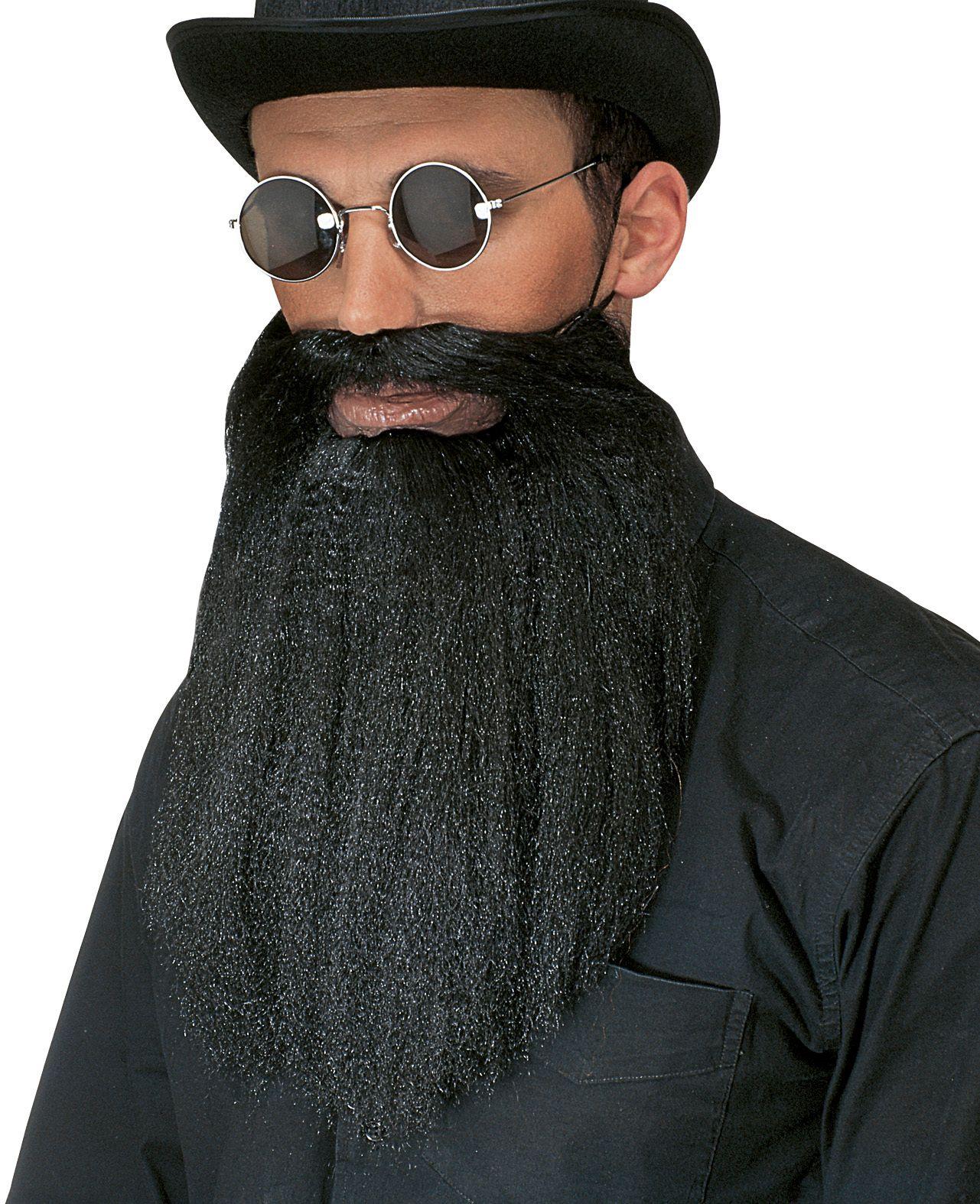 Zwarte baard met snorretje