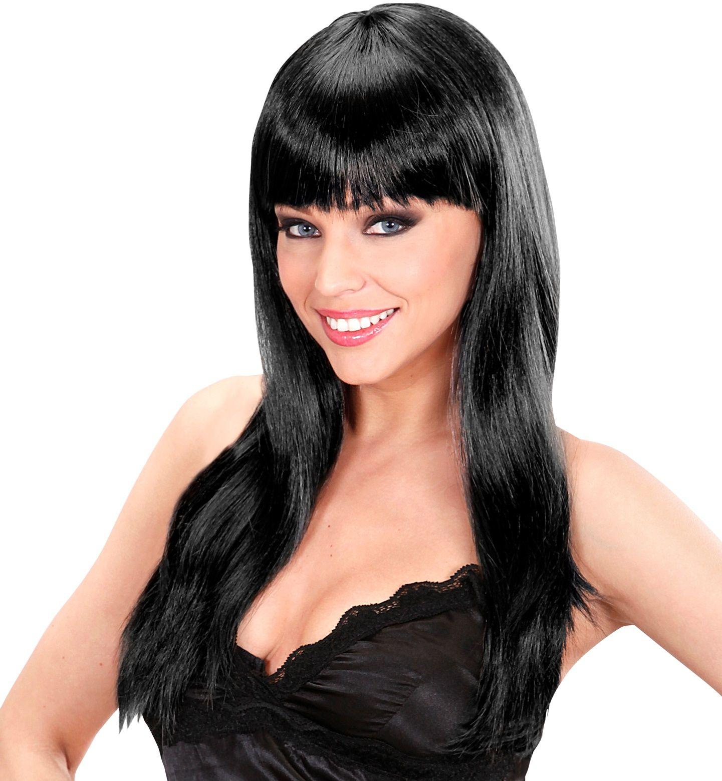 Zwarte beauty pruik lang haar