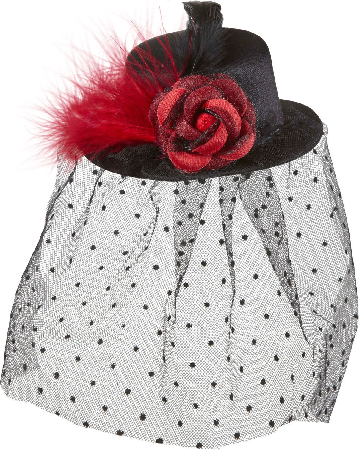 Zwarte burlesque mini hoge hoed