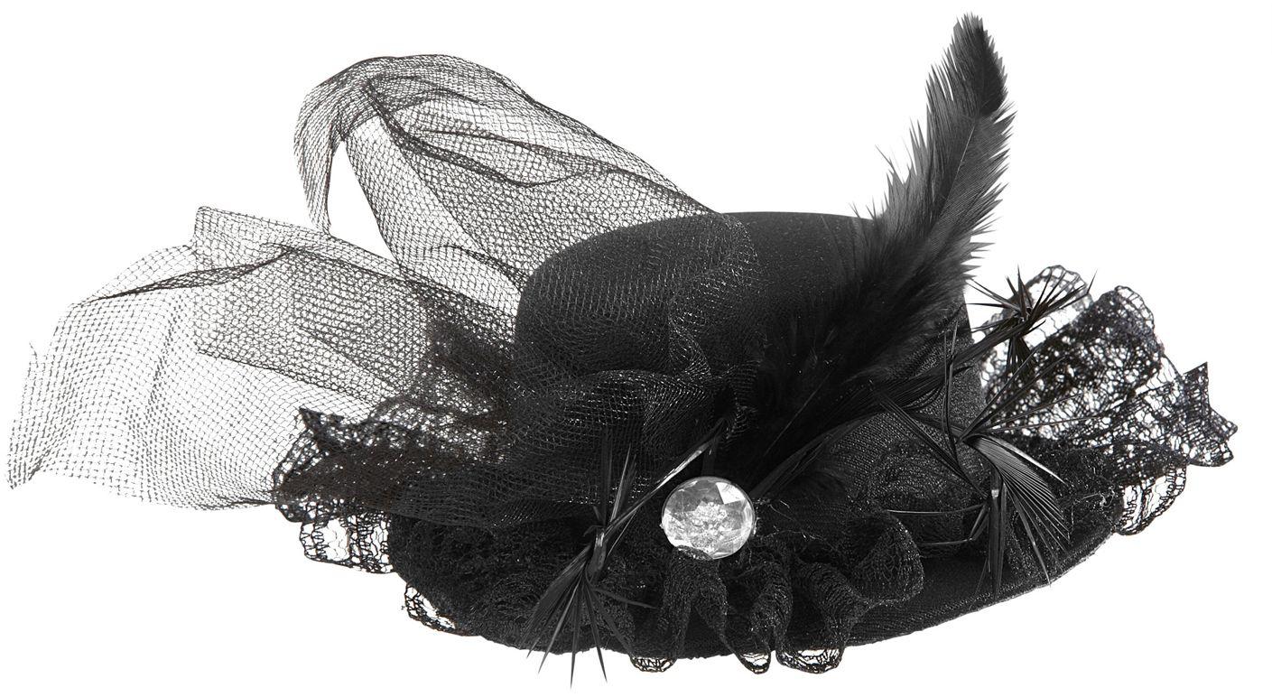 Zwarte burlesque mini hoge hoed met juweel