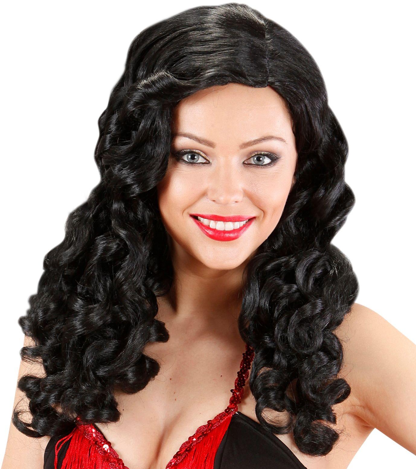 Zwarte burlesque pruik