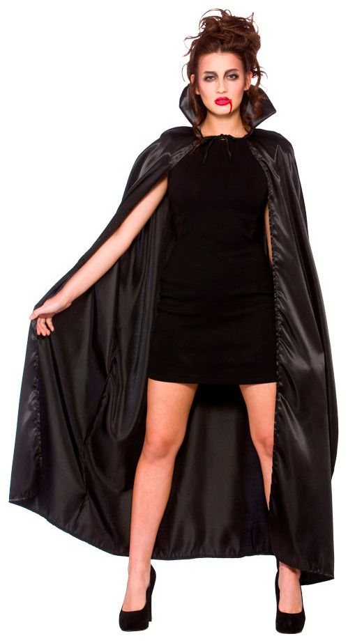 Zwarte cape met zwarte kraag
