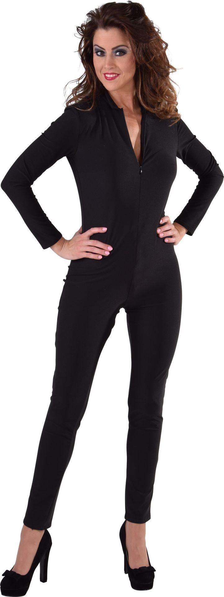 Zwarte catsuit vrouw