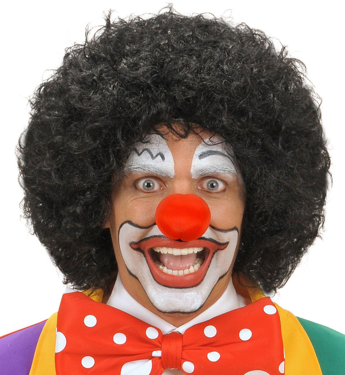 Zwarte clown pruik