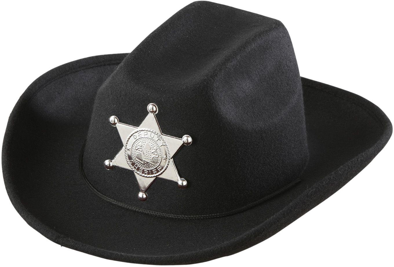 Zwarte cowboyhoed met sheriff ster kind