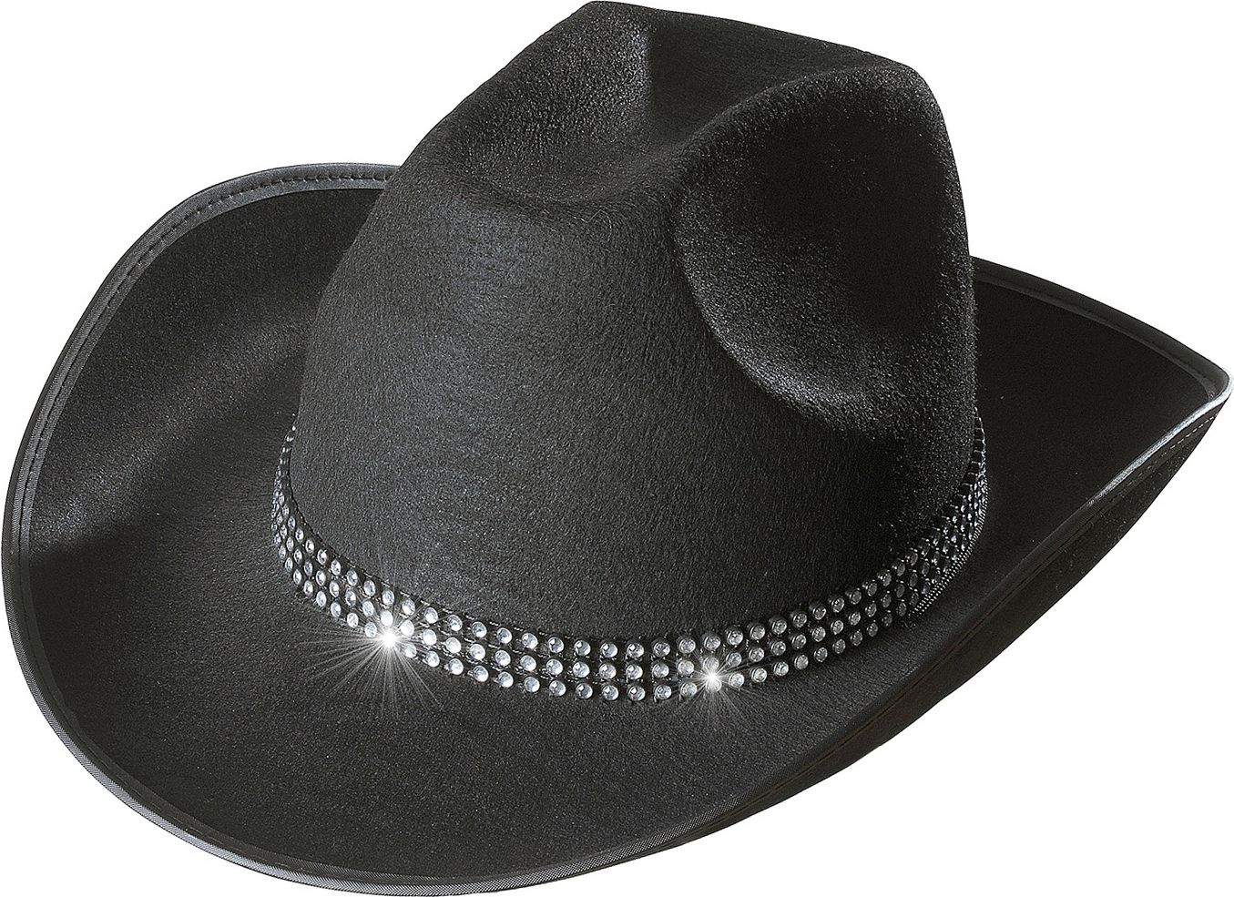 Zwarte cowboyhoed met strass band