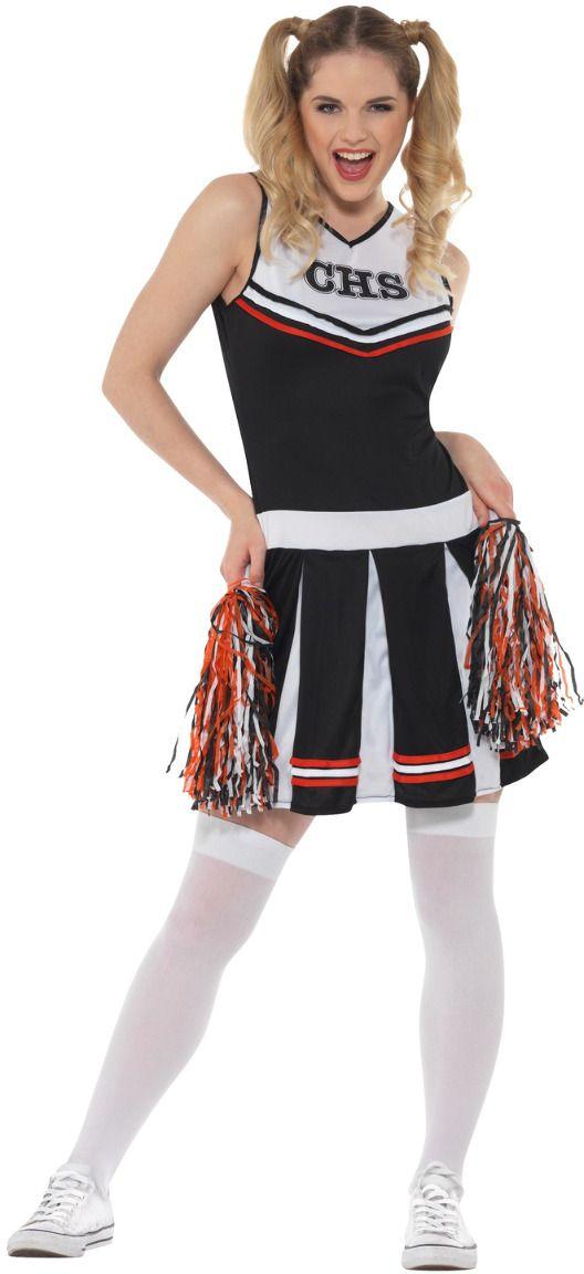 Zwarte dames cheerleader jurkje