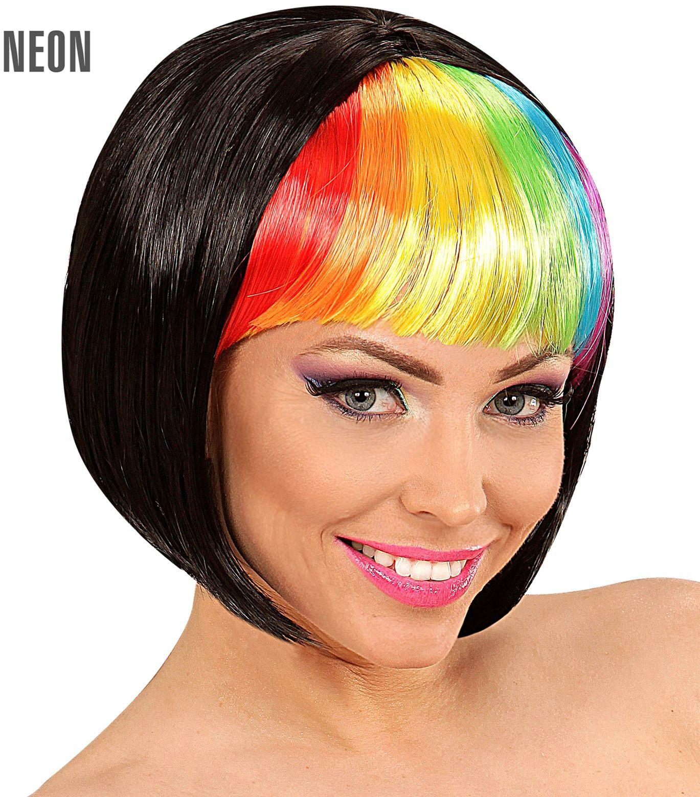 Zwarte disco pruik met regenboog pony