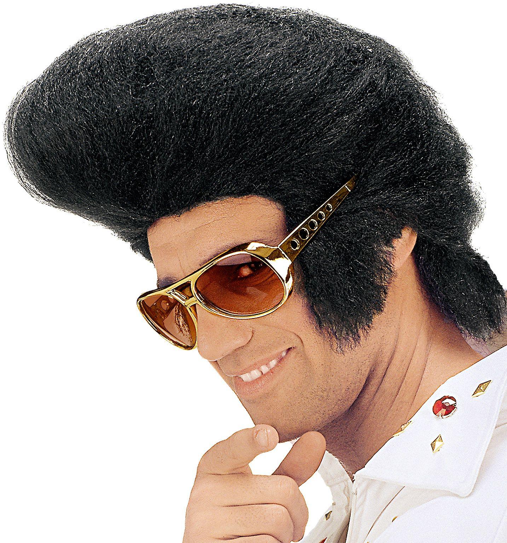 Zwarte Elvis pruik