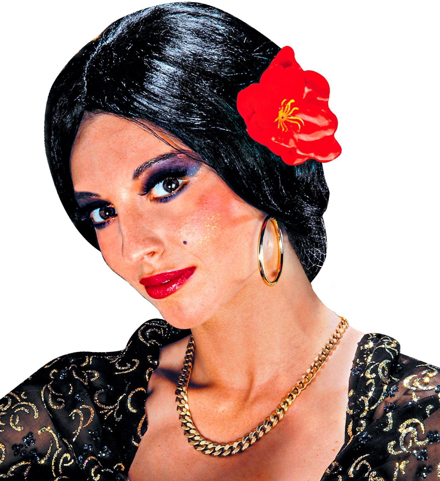 Zwarte flamenco danseres pruik