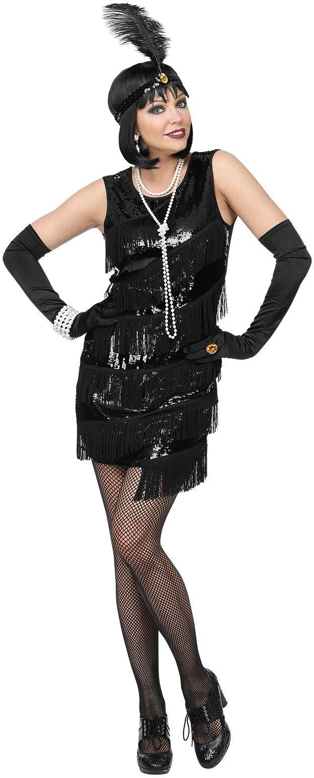 Zwarte flapper jurk dames