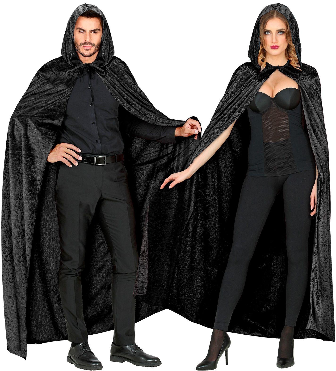 Zwarte fluwelen cape met capuchon