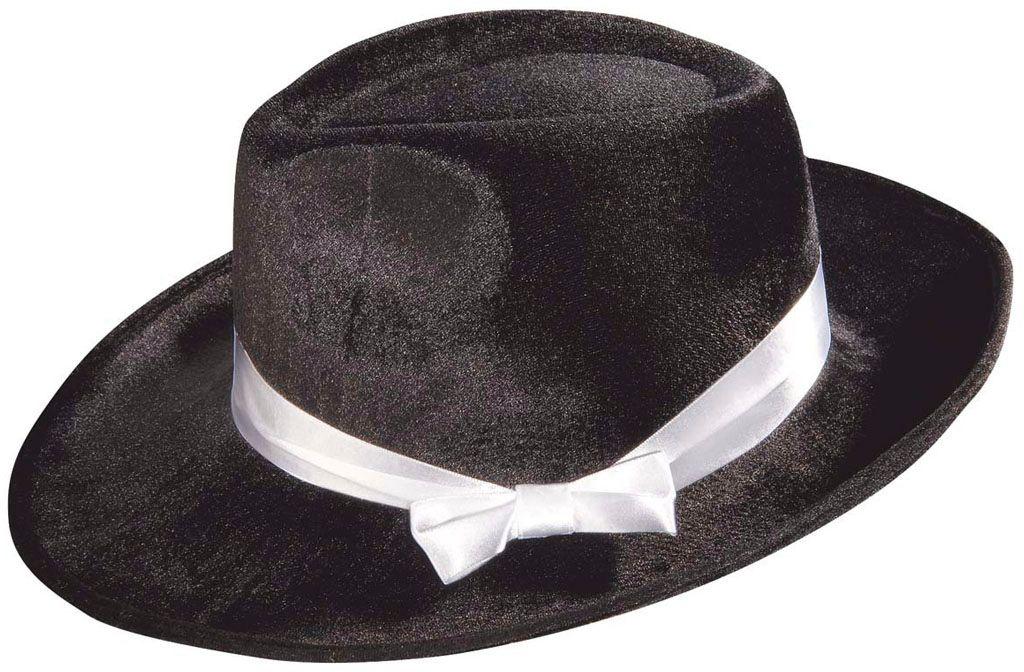 Zwarte fluwelen gangster hoed