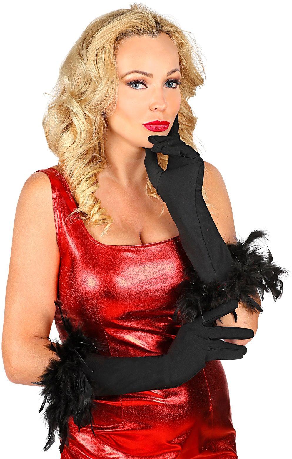 Zwarte gala handschoenen met veren