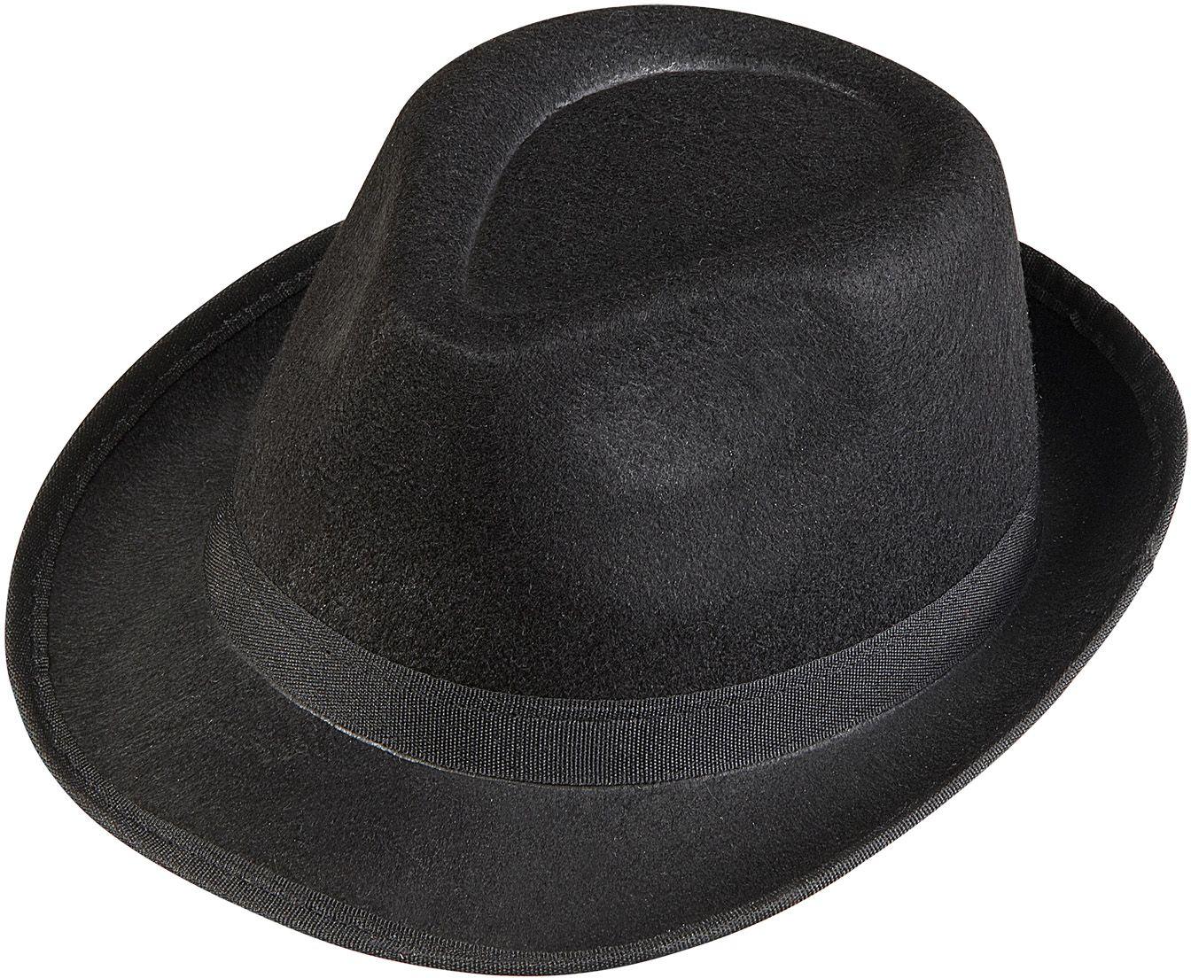 Zwarte gangster fedora hoed