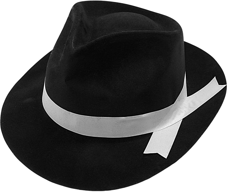 Zwarte gangster hoed met lint