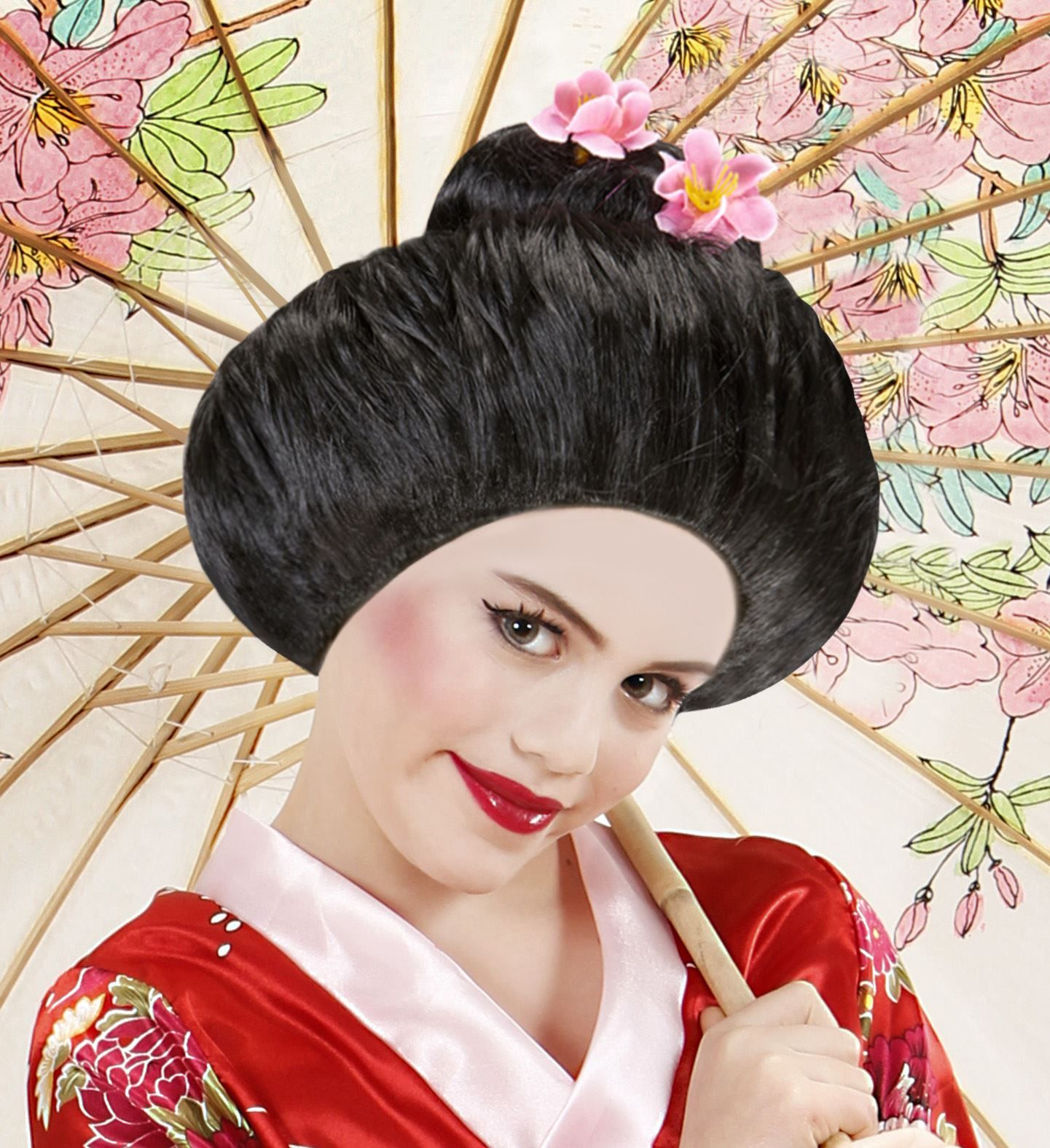 Zwarte Geisha pruik