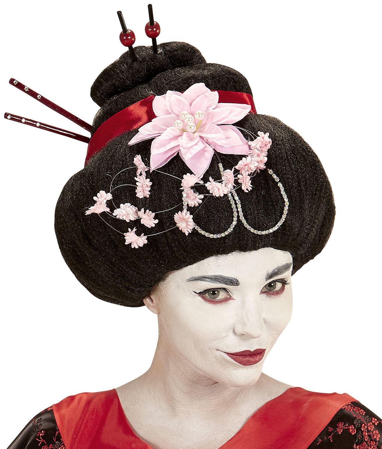 Zwarte Geisha pruik met bloem