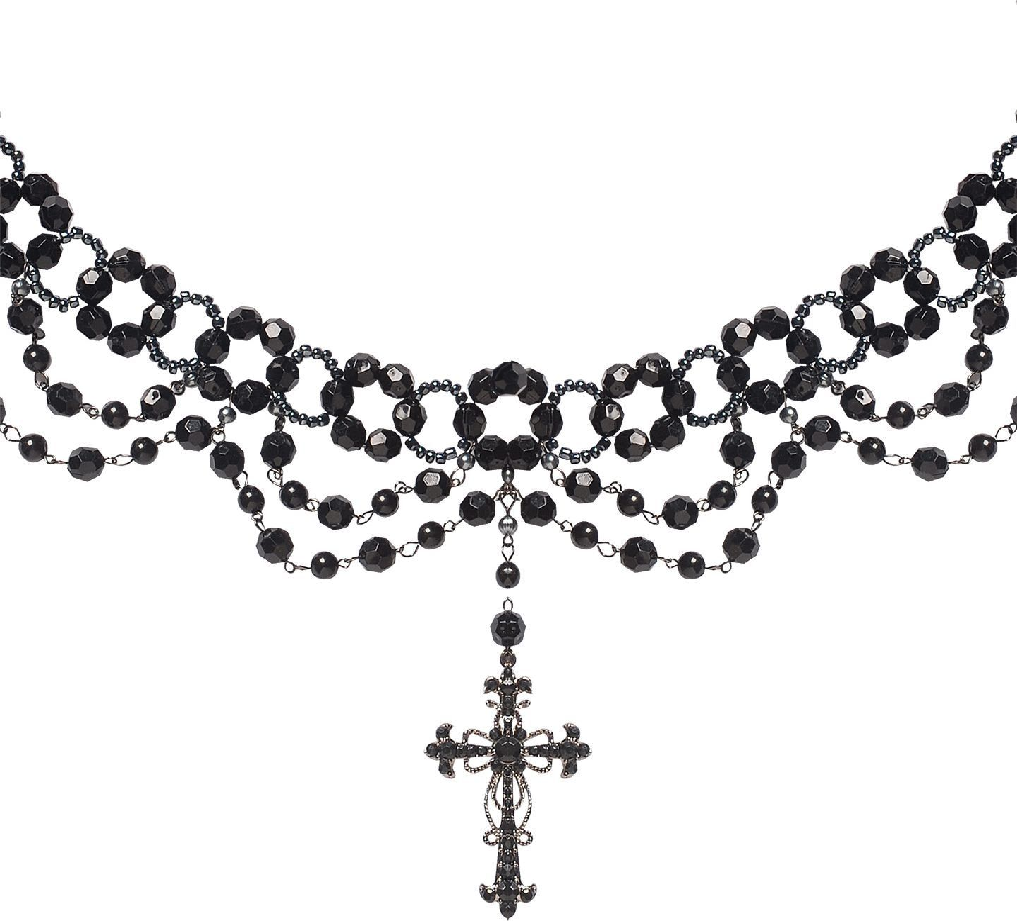 Zwarte geparelde gothic ketting met kruis