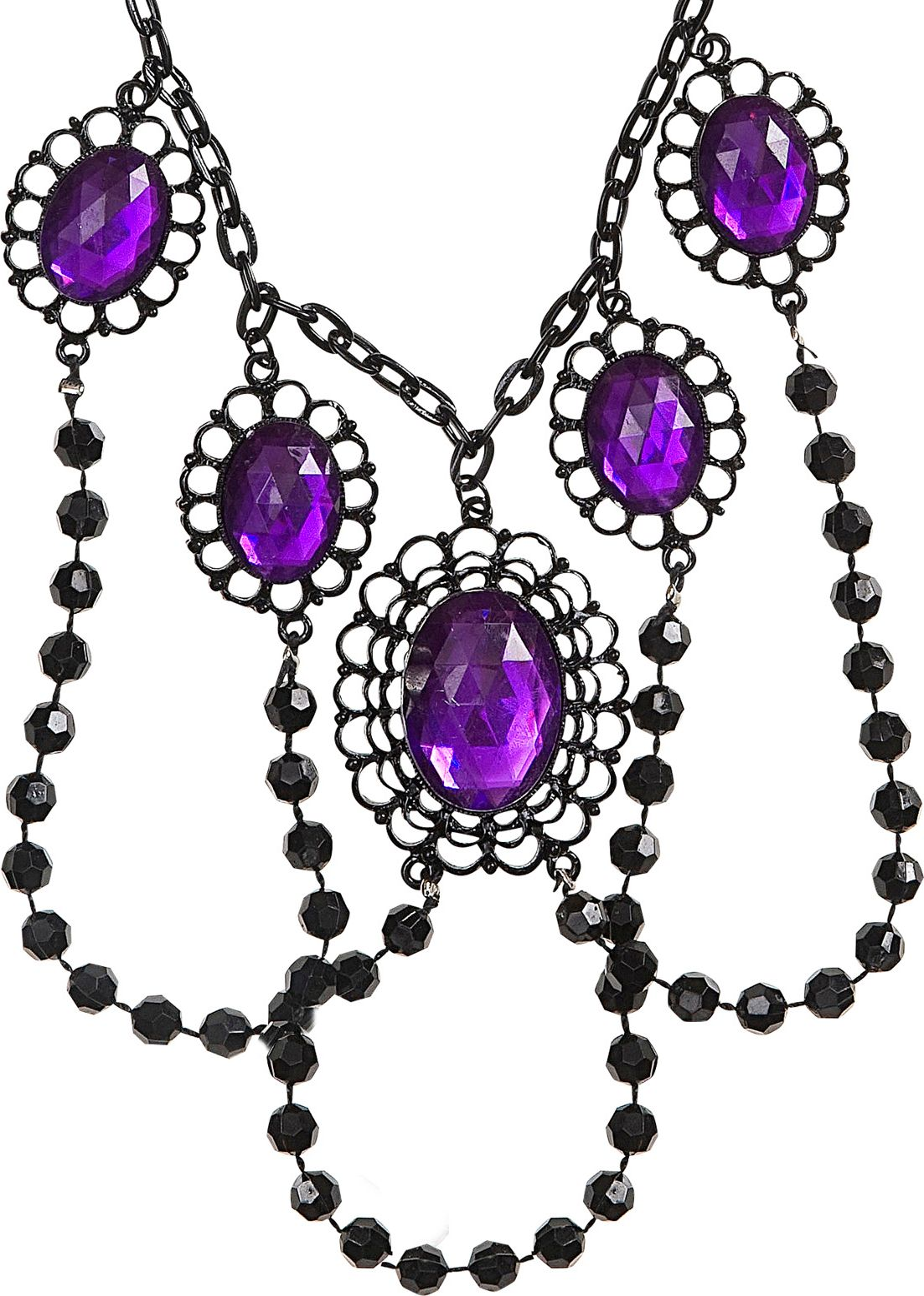 Zwarte geparelde nekband met paarse juwelen