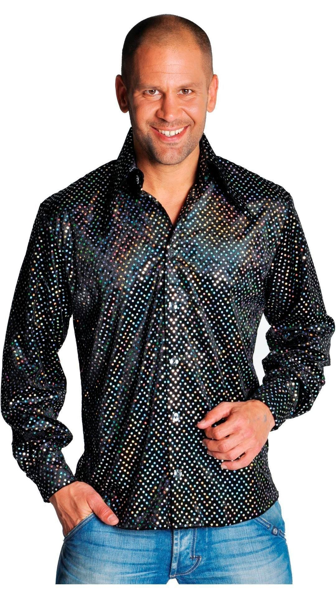 Zwarte glitter blouse heren