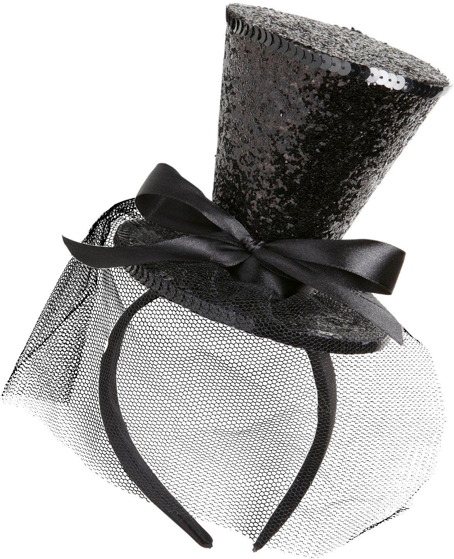 Zwarte glitter mini hoge hoed