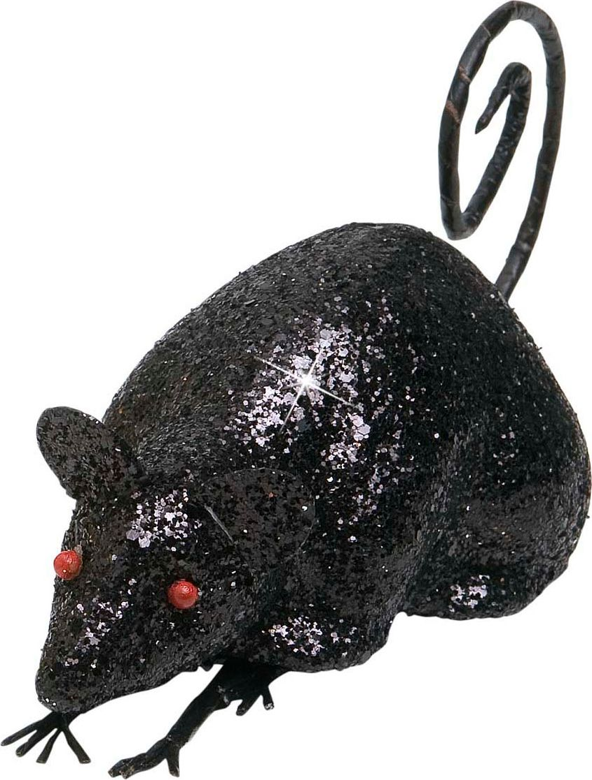 Zwarte glitter muis decoratie