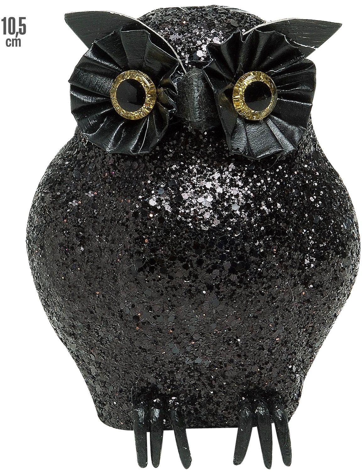 Zwarte glitter uil