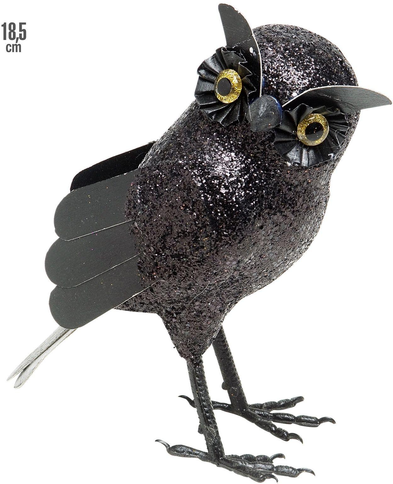 Zwarte glitter uil decoratie