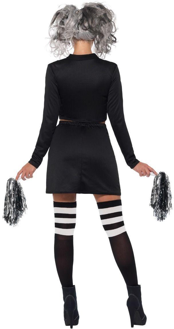 Zwarte gothic cheerleader outfit