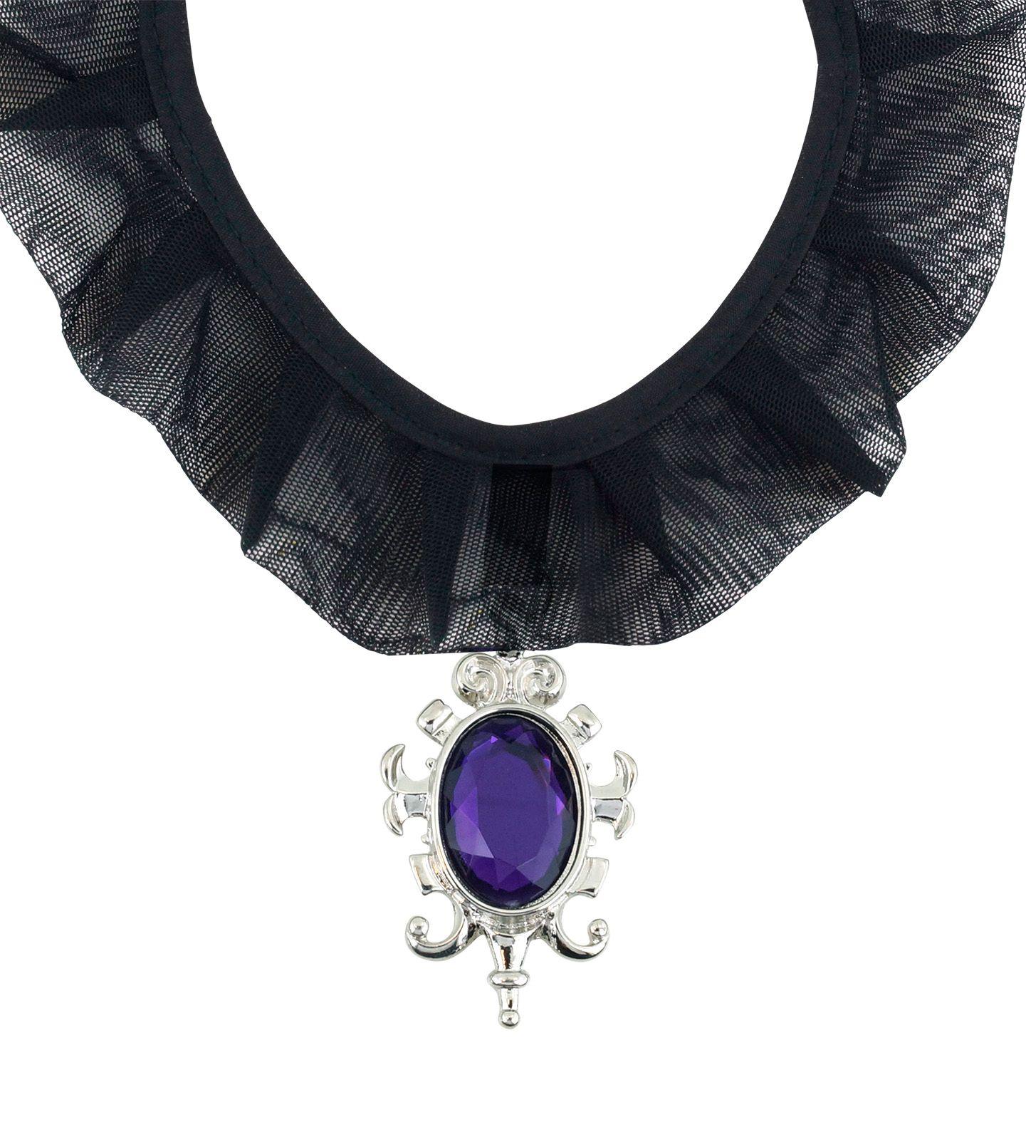 Zwarte gothic choker met juweel