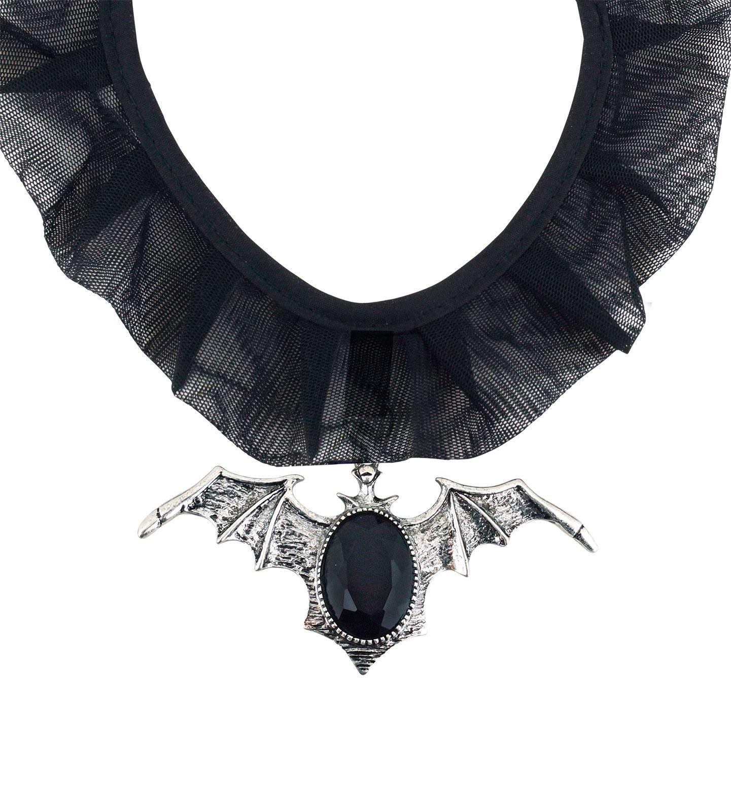 Zwarte gothic choker met vleermuis