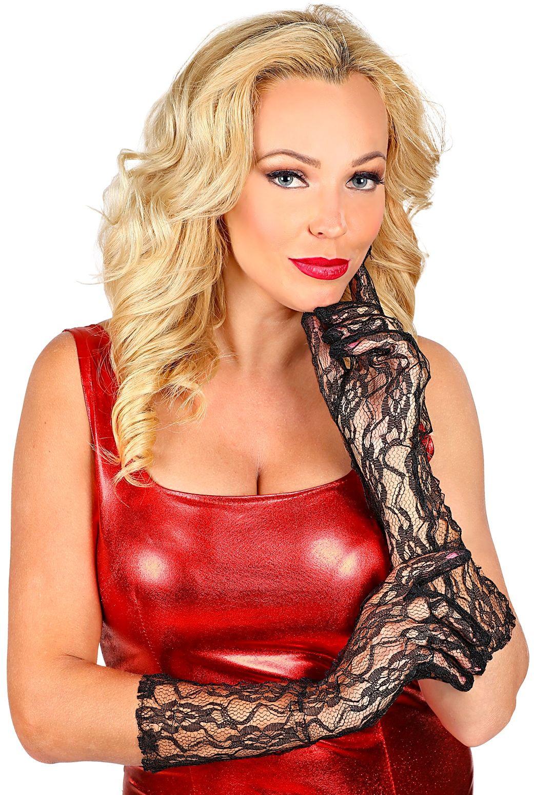 Zwarte halflange kanten handschoenen