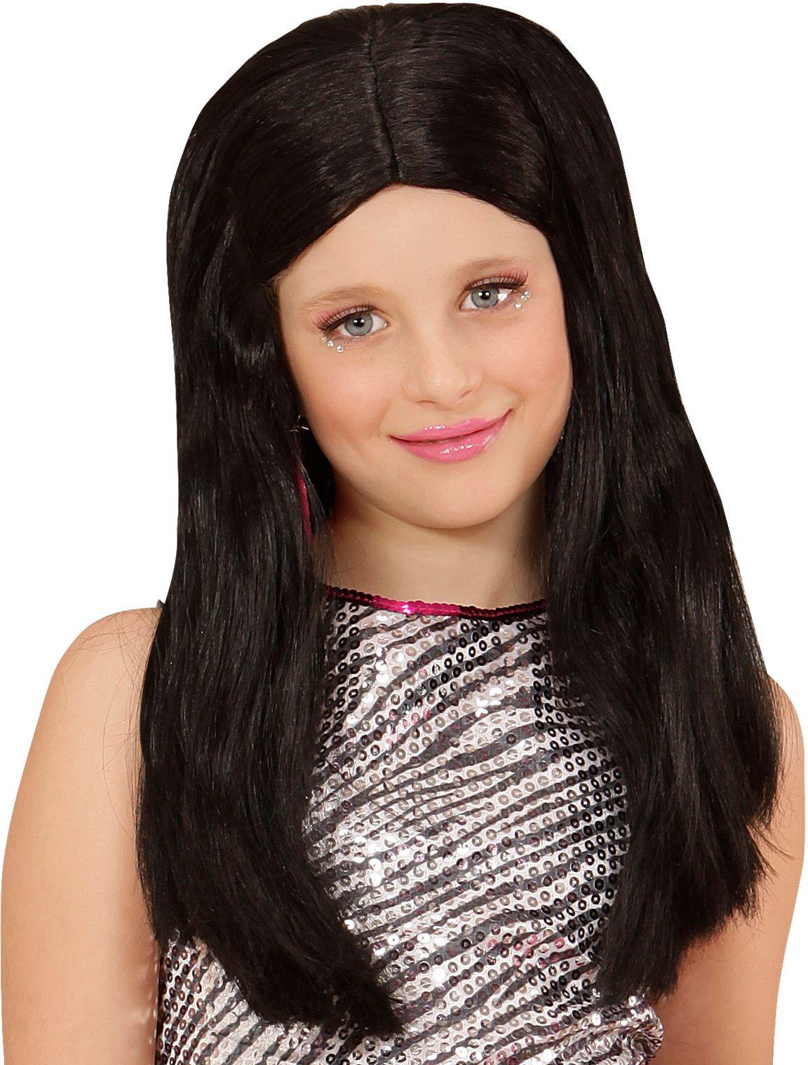 Zwarte Hannah pruik