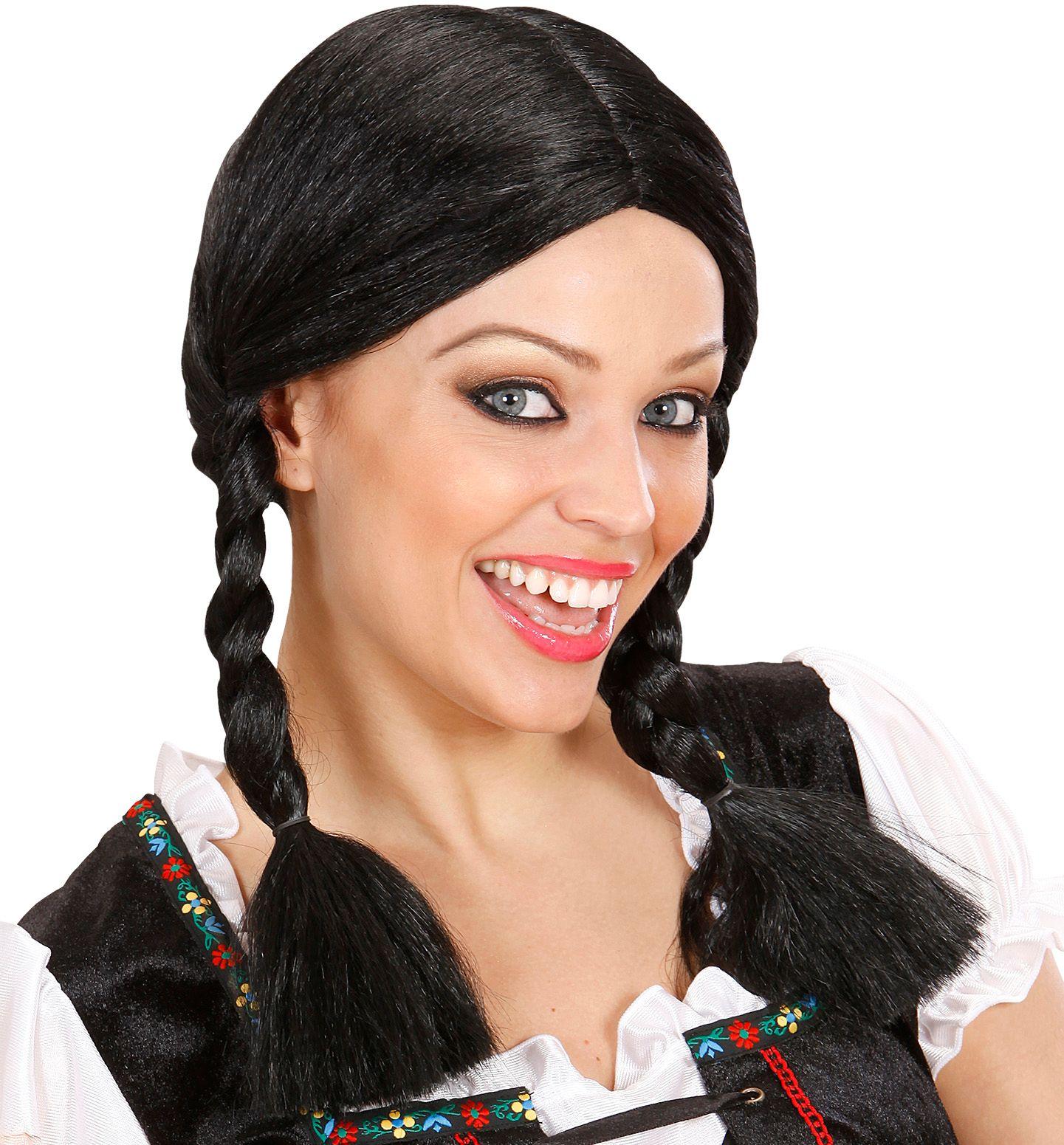 Zwarte Heidi pruik