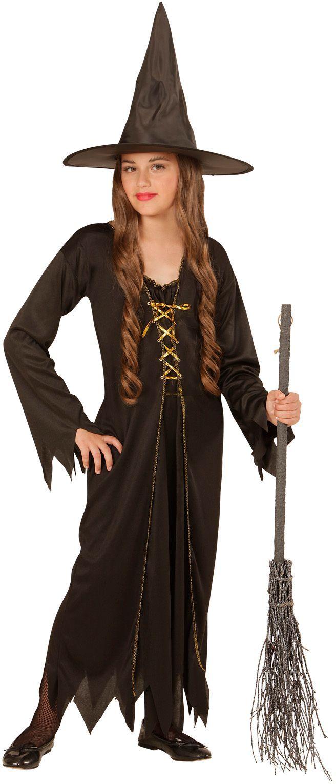 Zwarte heksen jurk kind