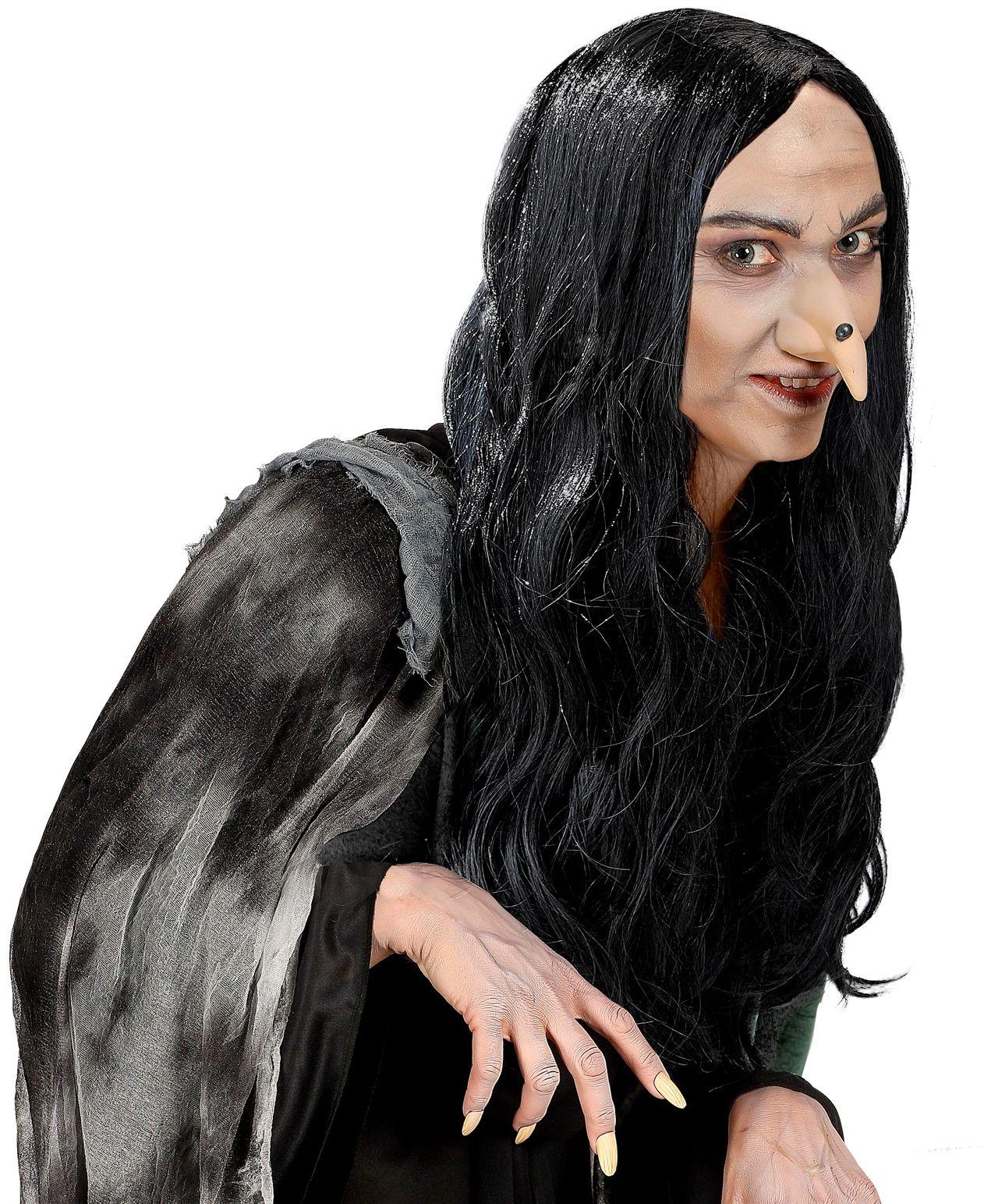 Zwarte heksen pruik