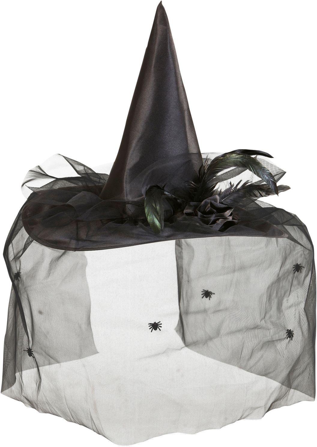 Zwarte heksenhoed met bloemen en tule